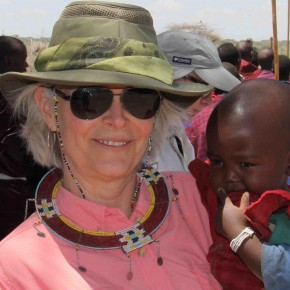 Lori Robinson with Masai children, Kenya