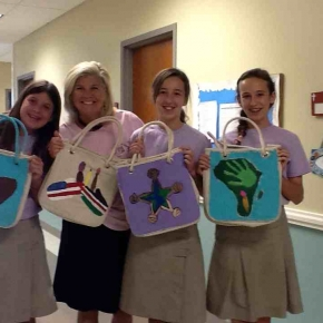 Kids in Pati's class hand painted some totes for the project